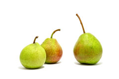 Three green pears isolated Royalty Free Stock Image