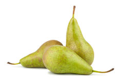 Three green pears. On white background Royalty Free Stock Photo