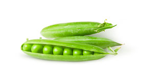 Three green peas in pods rotated Stock Photos