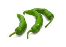 Three green peppers Royalty Free Stock Photo