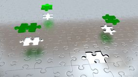 Three Green Pieces above all other Grey pieces with Four White Holes Stock Photos