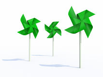 Three green pinwheel Royalty Free Stock Photos