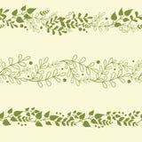 Three Green Plants Horizontal Seamless Patterns stock illustration