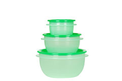 Three green plastic containers Stock Image