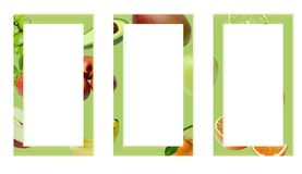 Three green rectangular frames decorated with fruits. royalty free stock image