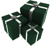 Three Green and Silver Presents Stock Images