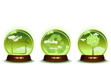 Three green spheres Stock Images