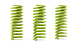 Three green spirals rendered and isolated Stock Images
