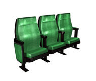 Three green theater chairs Royalty Free Stock Photo