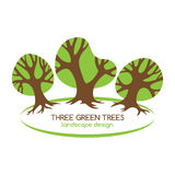 Three green trees logo for landscaping. Stock Photography