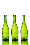 Three green wine bottles Royalty Free Stock Photo