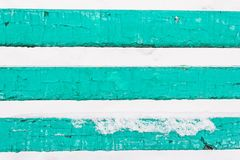 Three green wooden planks, boards from the bench. As the background royalty free stock photography