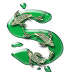 Three greenback koi over dollar sign Stock Photo