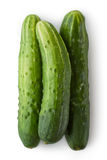 Three greenhouse cucumbers. Placed on white background Royalty Free Stock Images