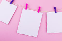 Three greeting card on pink background. Love, wedding, dreams theme Royalty Free Stock Image