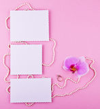 Three greeting card on pink background. Love, wedding, dreams theme.  Stock Images