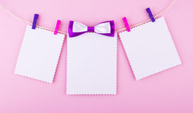 Three greeting card on pink background. Love, wedding, dreams theme.  Royalty Free Stock Image