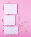 Three greeting card on pink background. Love, wedding, dreams theme.  Stock Photos