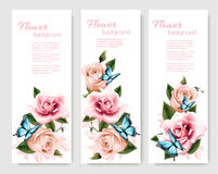 Three greeting cards with colorful flowers and butterflies.. Vector illustration Stock Photos