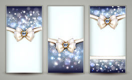 Three Greeting cards. Three elegant Christmas greeting cards with bow and jewelry Stock Images