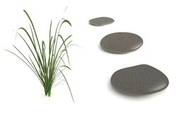 Three Grey Pebbles with Grass. Digital render of three grey pebbles with a grass plant isolated on white Stock Image