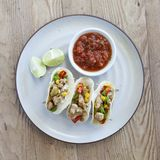 Grilled Chicken Tacos with Salsa and Lime. Three Grilled Chicken Tacos with Salsa and Lime stock images