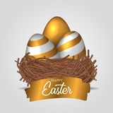 Three group 3D realistic Decorative egg with gold color on the bird nest with golden splash text banner. Poster, banner, ad, promotion. Vector illustration vector illustration