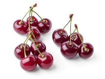 Three groups of juicy cherries view from top Royalty Free Stock Photography