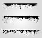 Three grunge banners with floral elements Royalty Free Stock Photo