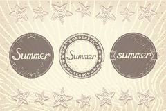 Three grunge labels designed for summer Royalty Free Stock Photo