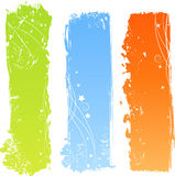 Three grungy multicolored banners Stock Image