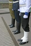 Three guards. Three soldiers stand guard at lithuanian national flag ceremony Stock Photo