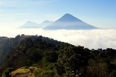 Three Guatemala Volcanos Stock Photography