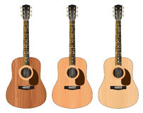 Three guitars with a wood texture Stock Photo
