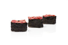 Three Gunkan Maki with Tuna Royalty Free Stock Photos