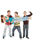 Three guys carrying sleeping pretty girl Royalty Free Stock Images