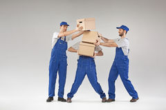 Three guys holding paper boxes Royalty Free Stock Photo