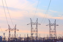 Three H-frame supports. Of power transmission line Royalty Free Stock Photo