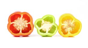 Three half of bell peppers. Royalty Free Stock Image