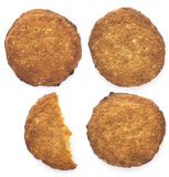 Three and a half of oatmeal cookies on a white background Stock Photo