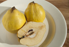 Three and half organic quinces. On white plate royalty free stock photography