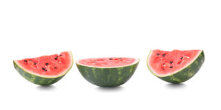 Three half of a ripe watermelon, isolated on a white background. Close-up of three pieces sweet, fresh and raw watermelon. Royalty Free Stock Photos