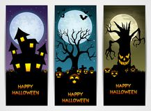 Three Halloween banners with castle and pumpkin and spooky tree Royalty Free Stock Photos