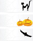 Three halloween banners with a cobweb Royalty Free Stock Images