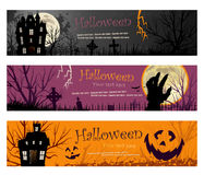 Three Halloween Banners vector illustration copy space Royalty Free Stock Photo