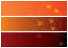 Three halloween banners with web and spiders Stock Images