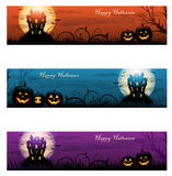 Three Halloween haunted house background Royalty Free Stock Photography