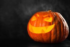 Three halloween Jack O` Lantern pumpkins Royalty Free Stock Image