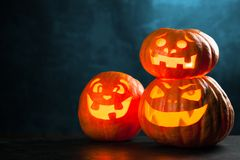 Three halloween Jack O` Lantern pumpkins. On dark night background Royalty Free Stock Photo