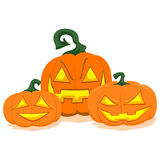Three Halloween Pumpkin Display Stock Photos